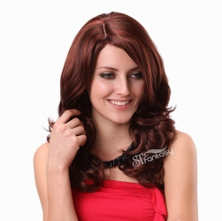 Wig Vendor In China W977 Burgundy Flame Resistant Synthetic Hair Long Curly Wigs For Women With Side Bang