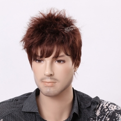 Short curly synthetic wigs for men