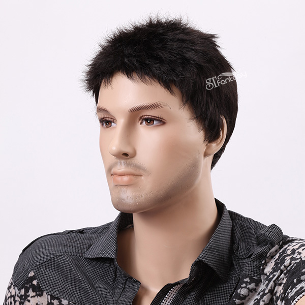 "11"" Natural black real looking synthetic men wigs"