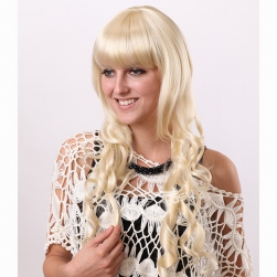 Deep wave blonde heat resistant synthetic wigs for South America women