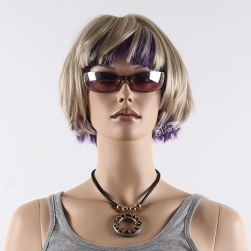 Light blonde mix purple color synthetic hair wig for window display mannequin