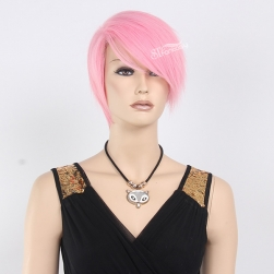 Fashion style high temperature fiber short mannequin wig pink wig for lady