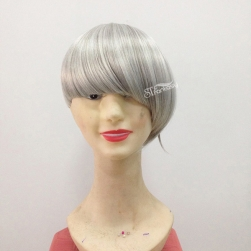 Short straight synthetic grey hair toupee for women