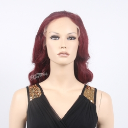 Vintage Style long body wave lace front wigs used synthetic fiber