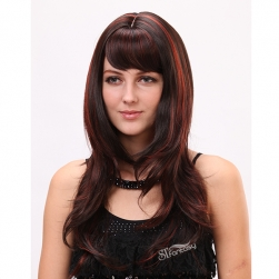 Color mixing long natural wave synthetic wigs for women