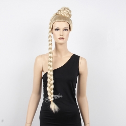 Long blonde synthetic hair braided wig for store window mannequin head
