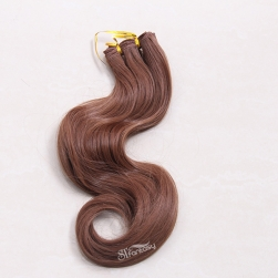 Natural looking body wave brown synthetic hair weft wholesale