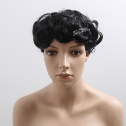 China wig supplier wholesale short curly synthetic hair toupee for man