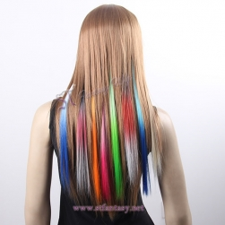 Fantasy wig supplier women cosplay single clip in synthetic hair extensions