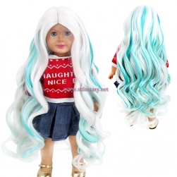 High Quality Synthetic Wigs Doll White Mixed Green Synthetic Hair Long Curly Wig For Doll