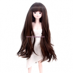 Wig Factory Wholesale Fluffy Long Straight Natural Brown Synthetic Hair Bjd Wig For Dolls