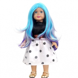 Cheap Wigs Online Wholesale 15inch Long Curly Bule Mixed Color Doll Wig For American Girl