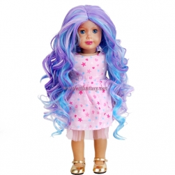 Wholesale Long Curly Wig Purple Mixed Blue Synthetic Hair Wig For American Girl Doll