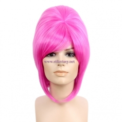 China Wholesale Beehive Wig With Bangs Pink Synthetic Party Wigs For Women