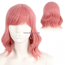 Halloween Party Wig 12 Inch Peach Color Synthetic Hair Short Curly Wig For Women