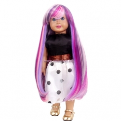 China Wig Supplier Wholesale 16 Inch Long Straight Colorful Synthetic Hair Cheap Doll Wigs