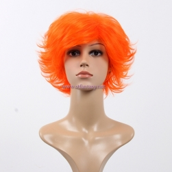 China Colored Wig Wholesale Blue Red Orange Yaki Short Hair Wig For Party