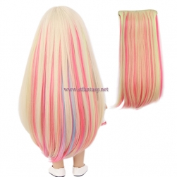 China Clip In Hair Extensions Manufacturers Synthetic Wig Colorful Long Straight Wig For Dolls