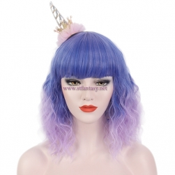 China Party Wig Factory Wholesale Ombre Blue Purple Color Short Curly Wig For Christmas