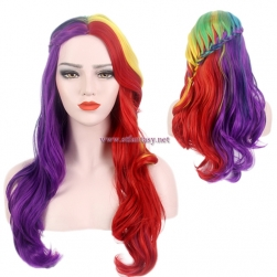 Wholesale Women Long Curly Braided Wig Synthetic Colorful Wigs For Christmas