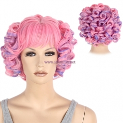 Guangzhou Party Wigs Wholesale Purple Mixed Pink Deep Curly Short Hair Wig For Women