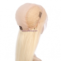 Human Hair Lace Front Wigs-Wholesale Brazilian Human Hair Long Straight 613 Blonde Wig For Black Women