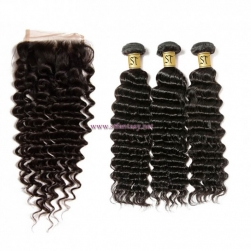 ST Fantasy 3Bundles Deep Wave Human Hair With Closure