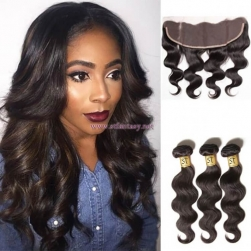 ST Fantasy Indian Hair Lace Frontal Closure With 3Bundles Body Wave Weft