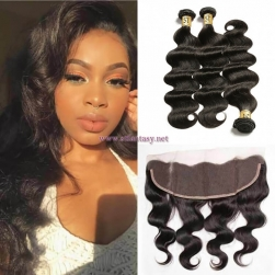 ST Fantasy Brazilian 13''x4'' Lace Frontal Closure With 3Bundles Body Wave Hair