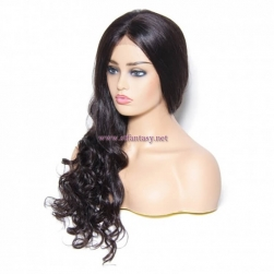 ST Fantasy Long Wavy Lace Front Human Hair Wigs With Baby Hair 4 Colors