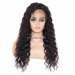 ST Fantasy Long Deep Wave Free Part Lace Front Human Hair Wig With Baby Hair